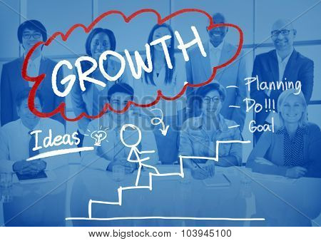 Growth Strategy Management Mission Success Concept