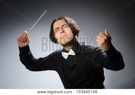 Funny conductor in musical concept