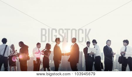 Business People Shaking Hands Rooftop City Concept