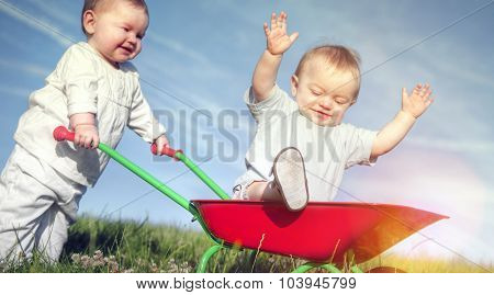 Babies Bonding Happiness Childhood Playing Concept