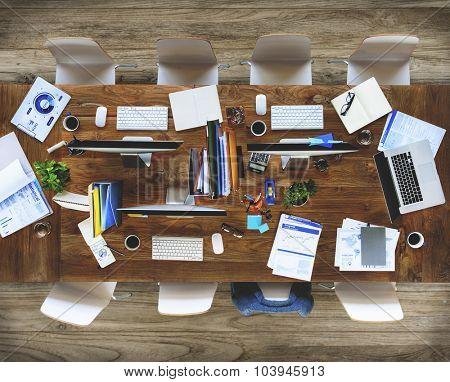 Messy Contemporary Interior Office No People Concept