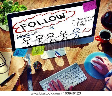 Follow Support Ideas Teamwork Social Media Concept