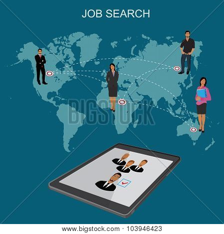 Job search, Hr, headhunting, human resources, flat vector illustration