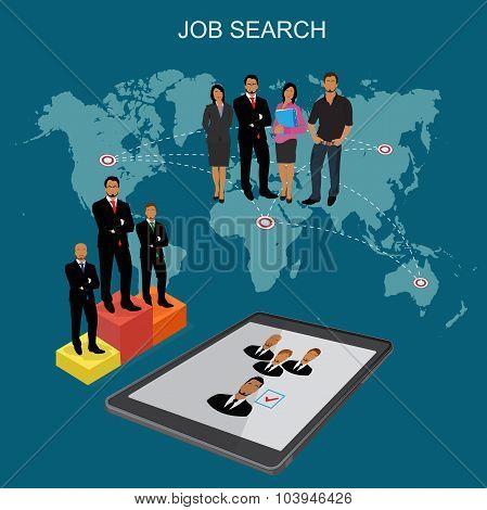 Hr, headhunting, human resources, flat vector illustration