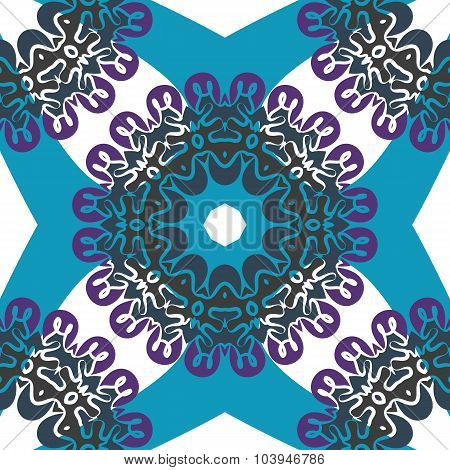 Seamless oriental pattern. Wallpaper element with seamless mandala pattern in blue color.