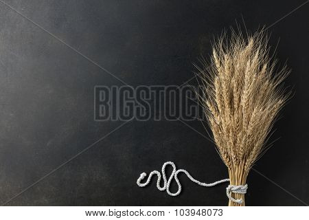 wheat on black background with rope. top view