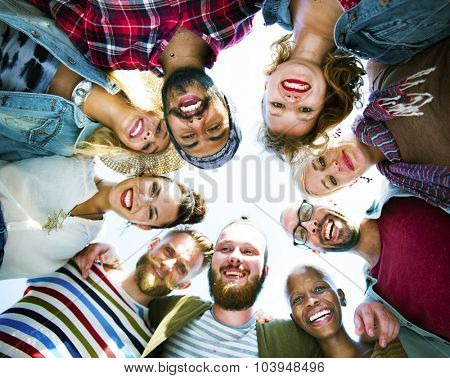 Diverse People Circle Huddle Looking Down Concept
