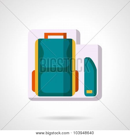 School bag and pencil box flat vector icon.