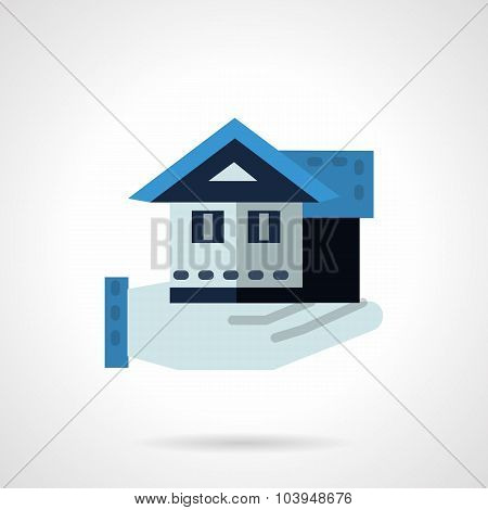 Hand with house flat color vector icon