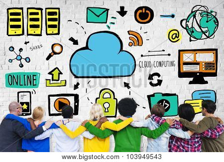 Diversity People Cloud Computing Teamwork Support Concept