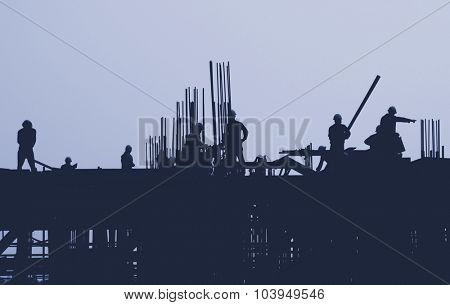 Construction Site Worker Building Silhouette Concept