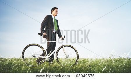 Businessman Green Business Relaxation Outdoors Concept
