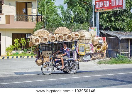 Motorbike Loaded With Baskets