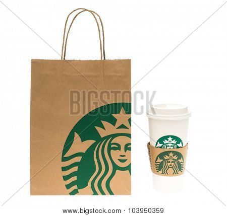 Loei, THAILAND - September 23, 2015 : Paper bag and cup of Starbuck Coffee Blended Beverages at Loei , Thailand.