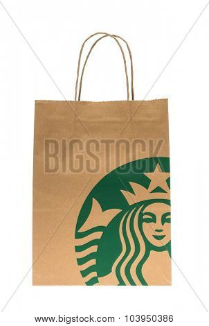 Loei, THAILAND - September 23, 2015 : Paper bag of Starbuck Coffee Blended Beverages at Loei , Thailand.