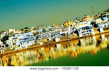 Holy Brahman Town Lake Pushkar Rajasthan India Concept