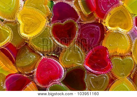 Jelly Shape Heart Gelatin Sweet Dessert In The Dish On The Table