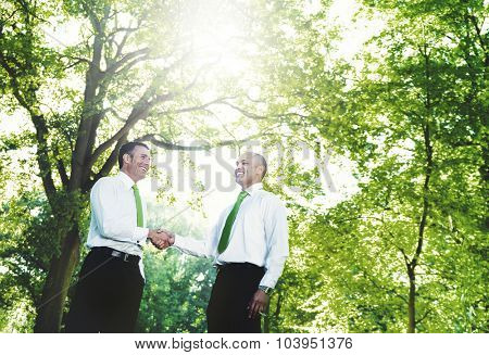 Green Business Handshake Deal Support Concept