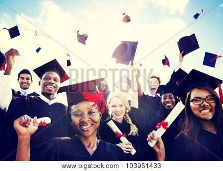 Diverse International Students Celebrating Graduation Concept