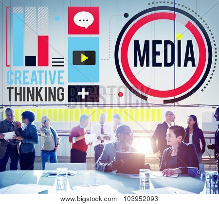 Media Communication Connect Creative Thinking Concept