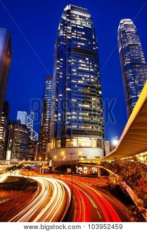 Hong Kong City Lights Cityscape Urban Scene Concept