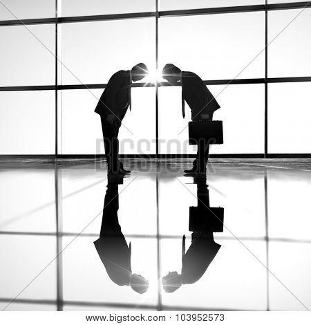 Businessmen Bowing Corporate Greeting Communication Concept