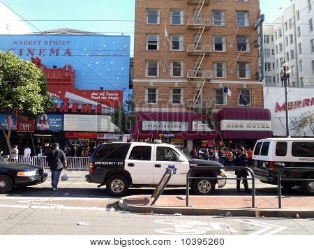 Police Officers And Vehicles Hang Out On A Closed Market Street Keeping The Peace After Giants World