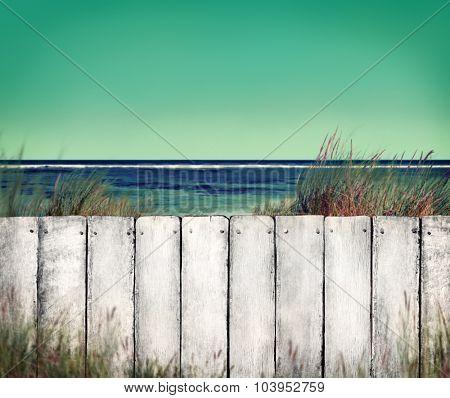 Beach Empty Plank Sign Shore Timber Coastline Concept