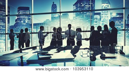 Group People Silhouette Communication Office Concept