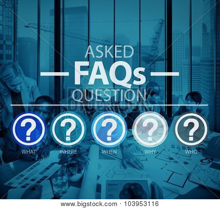 Frequently Asked Questions Asking Reply Response Concept