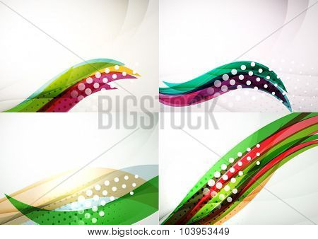 Set of abstract backgrounds. Elegant colorful decorated lines and waves with copyspace for your message. Banner advertising layouts - templates and wallpapers