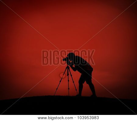 Photographer Camera Shooting Silhouette Outdoors Concept