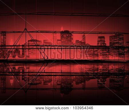 Night Time Cityscape Clear Sky Concept