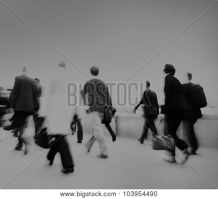 People Rushing Work Commuter Hurrying Crowd Concept