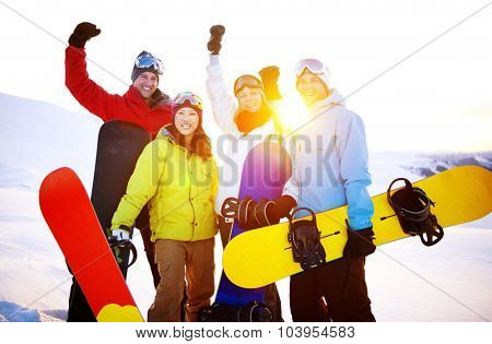 Snowboarders Extreme Skiing Friends Winter Concept