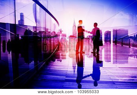 Business People Meeting Greeting Handshake Cityscape Concept