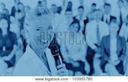Businesswoman Speaker Leadership Corporate Business COncept