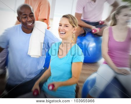 Group of People Exercising Fitness Wellbeing Concept