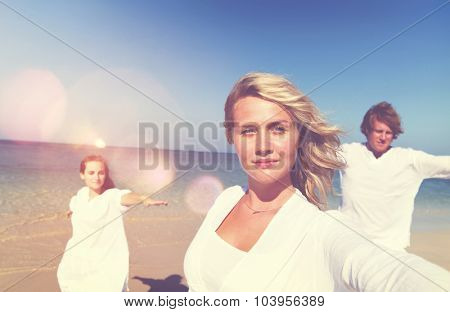 Beach Relaxation Summer Vacation Posing Concept