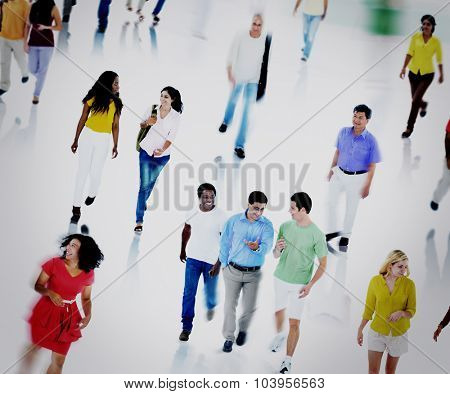 Multiethnic People Commuter Community Walking Concept