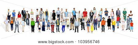 Large Group of Multiethnic People Various Occupations Concept