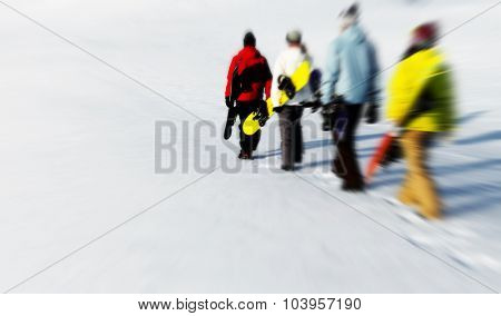 Group of snowboarders enjoying a beautiful Winter morning Concept