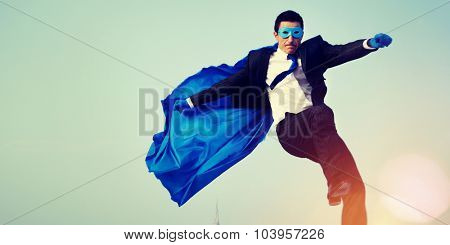 Superhero Businessman Cityscape Leadership Concept