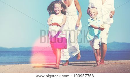 Family Beach Holiday Vacation Togetherness Concept
