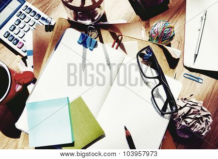 Messy Designer's Table Blank Note Tools Concept