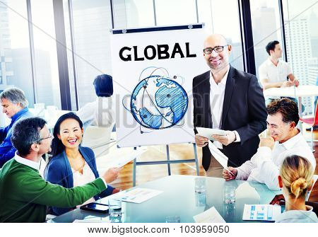 Multiethnic Group People Discussion with Global Concept