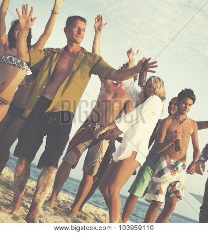 Friends Beach Party Dancing Cheerful Concept