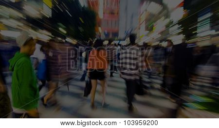 Japanese People Crowd Walking Cross Street Concept