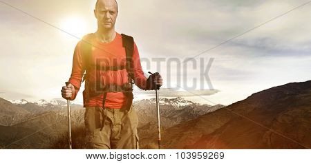 Extreme Hiking Across Rugged Mountains Concept