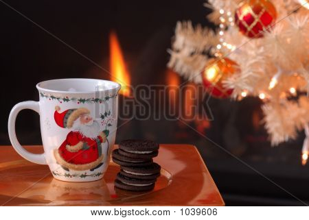 Cookies And Milk By The Fire For Santa